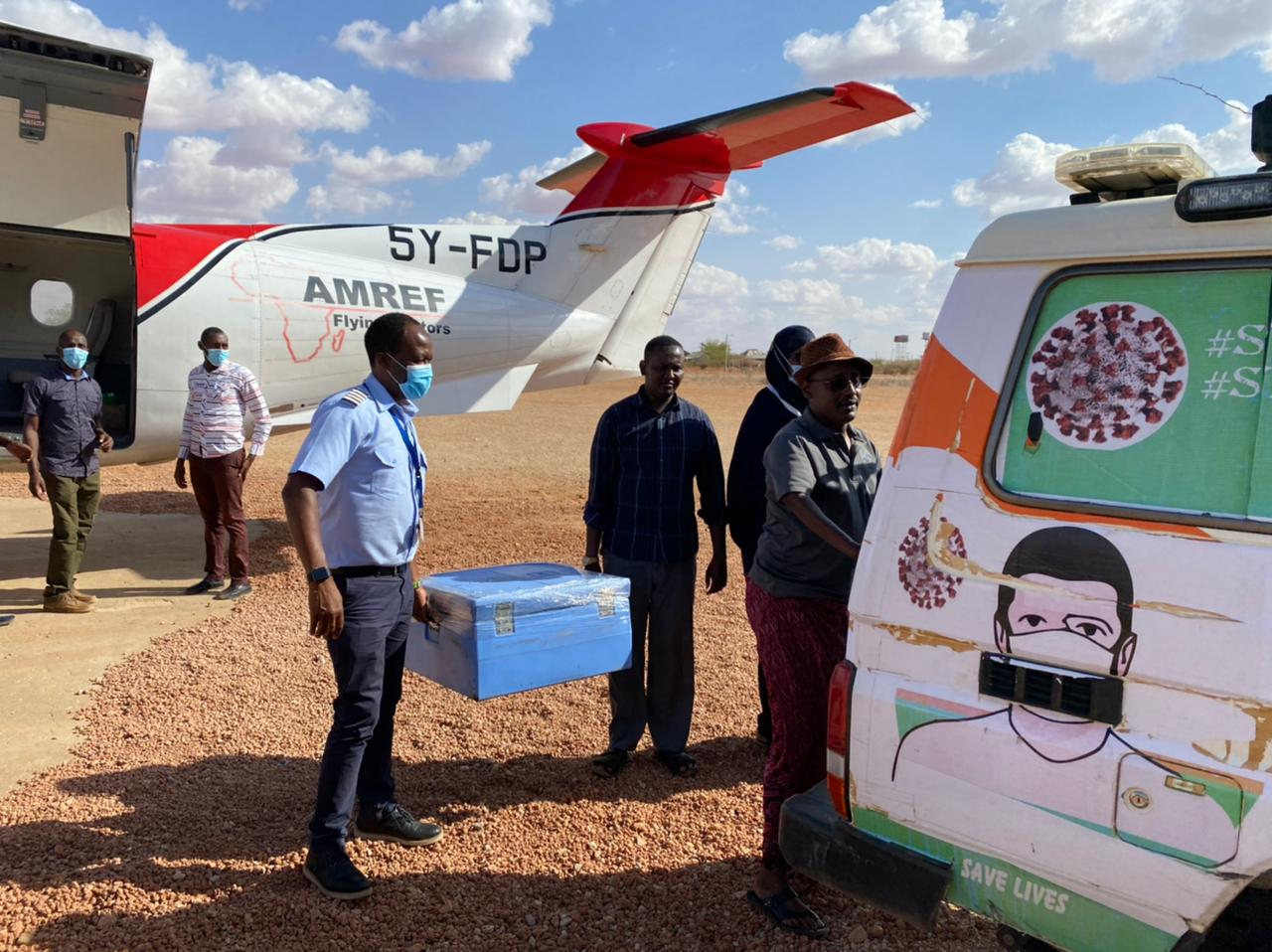 AMREF FLYING DOCTORS TRANSPORTS COVID-19 VACCINES TO MANDERA COUNTY